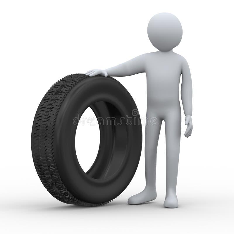 hombre 3d y neumático ilustración del vector