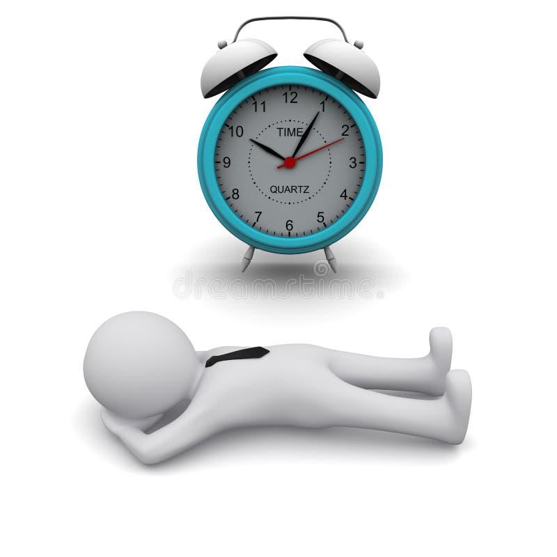 hombre 3D y reloj de alarma grande libre illustration