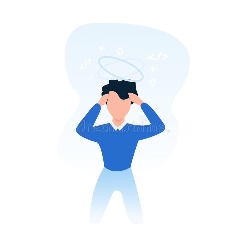 Hombre abrumado sin idea que piensa en las soluciones, concepto del negocio de la decisión dura ilustración del vector