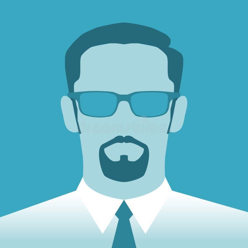 Hombre abstracto del perfil con la barba y los vidrios ilustración del vector