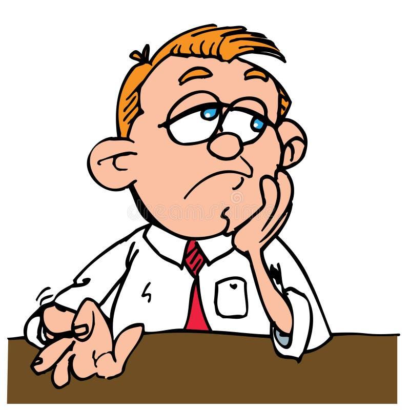 Hombre aburrido de la historieta que teclea sus dedos stock de ilustración