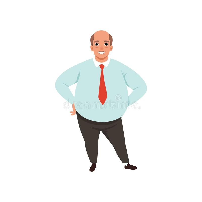 Hombre adulto gordo con la cabeza calva Carácter masculino de la historieta en camisa azul de la ropa formal, lazo rojo y pantalo libre illustration