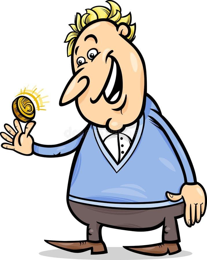 Hombre afortunado con la historieta de oro de la moneda ilustración del vector