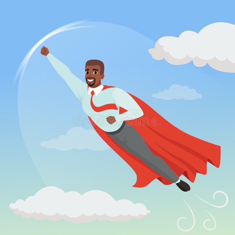 Hombre afroamericano de la historieta con el vuelo de la capa del super héroe en cielo azul Crecimiento y promoción profesionales ilustración del vector