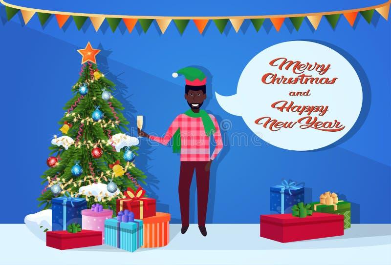 Hombre afroamericano que lleva a cabo el concepto de cristal de la Feliz Navidad de la Feliz Año Nuevo de la burbuja de la charla stock de ilustración