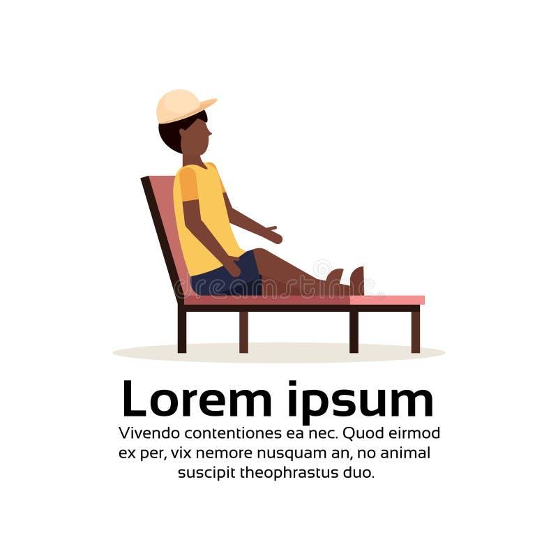 Hombre afroamericano que se sienta en plano masculino de relajación del personaje de dibujos animados del concepto de las vacacio libre illustration