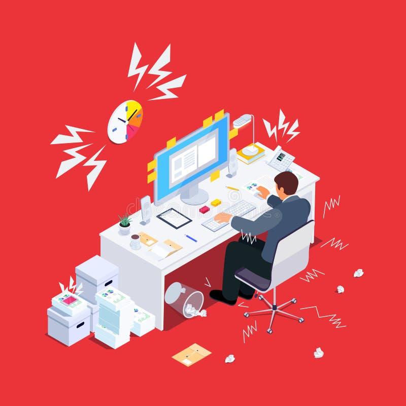 Hombre agotador en el trabajo stock de ilustración