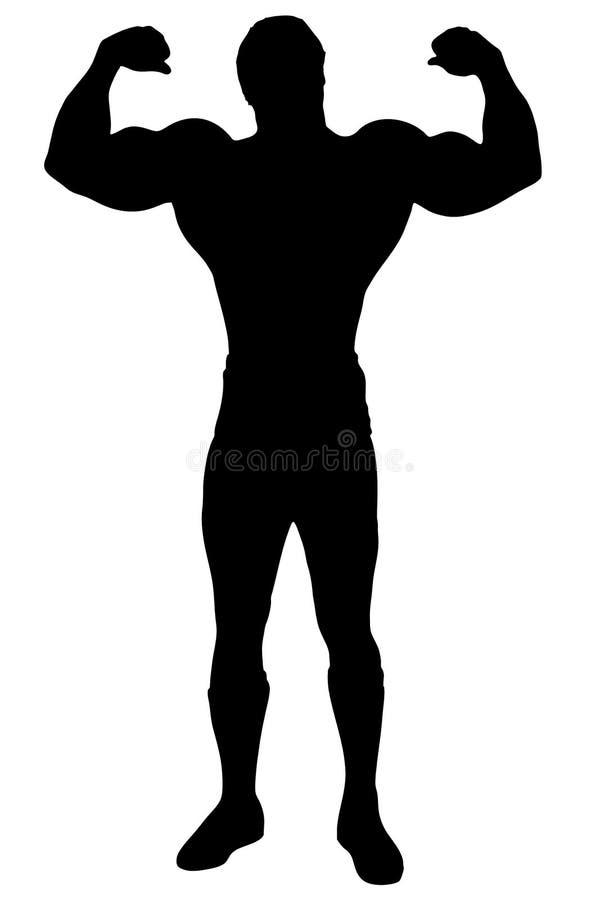 Hombre aislado del constructor de carrocería stock de ilustración