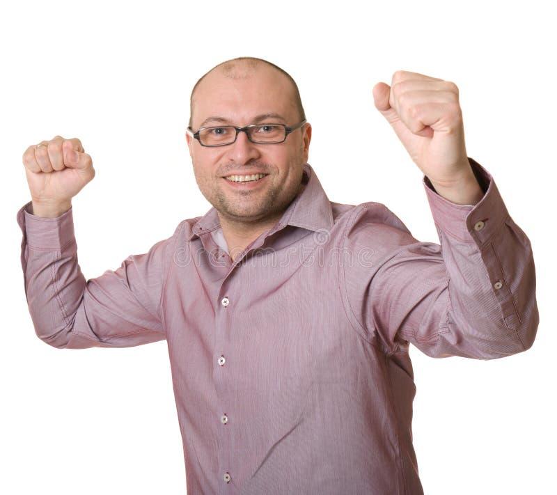 Hombre alegre con los vidrios fotografía de archivo