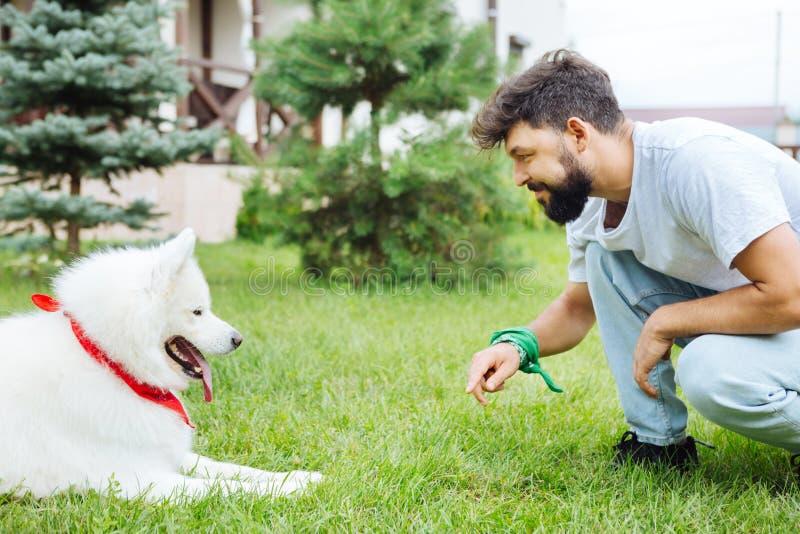 Hombre alegre de emisión que mira su perro lindo precioso foto de archivo