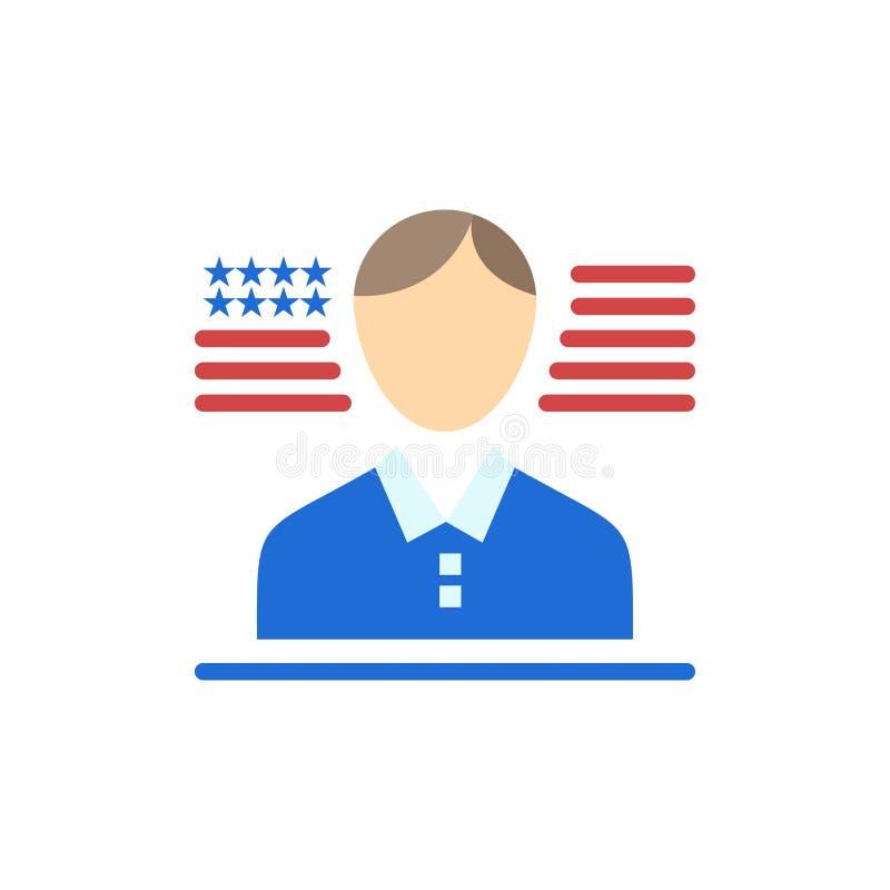 Hombre, americano, icono plano del color de la bandera Plantilla de la bandera del icono del vector libre illustration