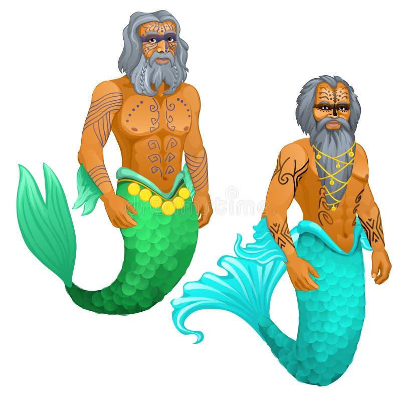 Hombre animado de la sirena del marinero con el primer tribal pintado de los modelos aislado en el fondo blanco Ilustración del v libre illustration