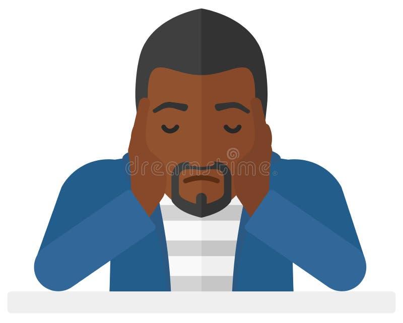 Hombre ansioso que agarra su cabeza libre illustration