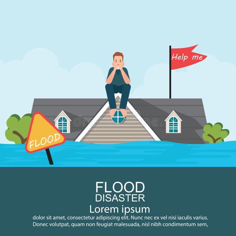 Hombre ansioso que se sienta en el tejado de la casa después de la inundación del agua stock de ilustración