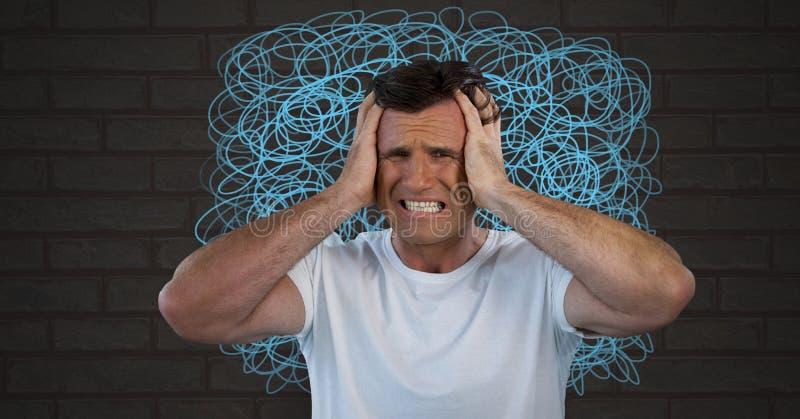 Hombre ansioso y frustrado subrayado con garabatos intensos en la pared imagenes de archivo