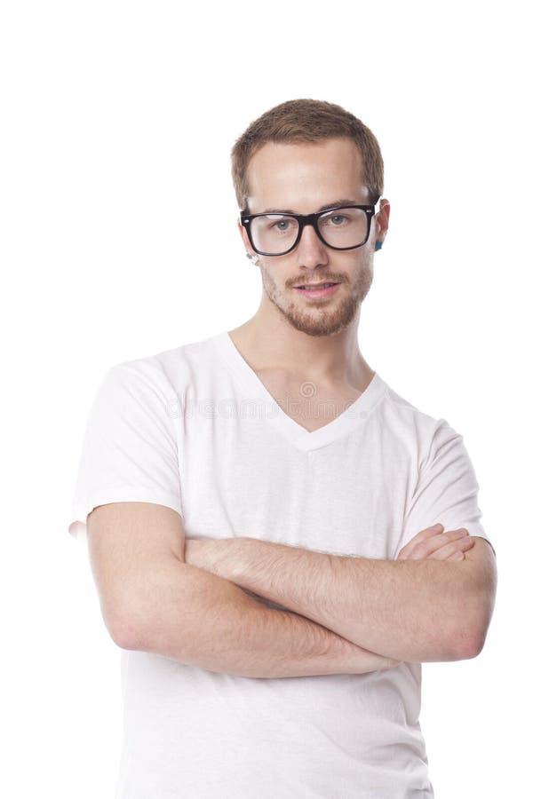 Hombre apuesto con los vidrios retros del empollón fotos de archivo libres de regalías