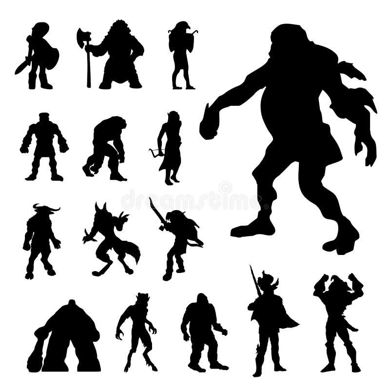 Hombre Armor Silhouettes Vector de la lucha de Ancient Soldier Cosplayer del caballero del guerrero stock de ilustración