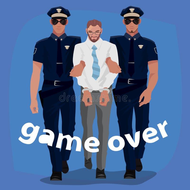 Hombre arrestado de los oficiales de policía en traje de la oficina ilustración del vector