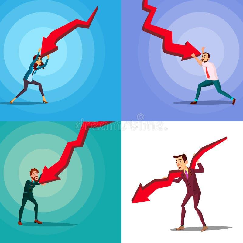 Hombre arruinado del carácter y vector rojo del sistema de la flecha libre illustration