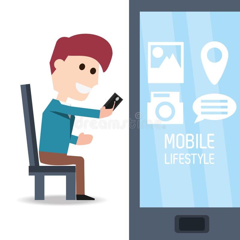 Hombre asentado con smartphone en la mano y el app de la selección libre illustration