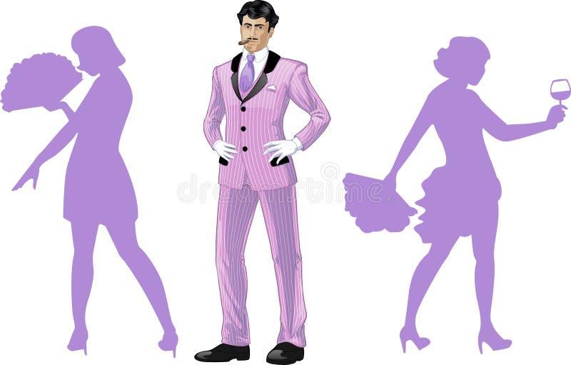 Hombre asiático atractivo con los bailarines de ballet de del cuerpo libre illustration