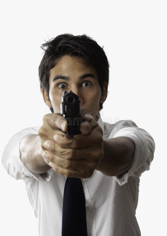 Hombre asiático con la pistola automática fotografía de archivo