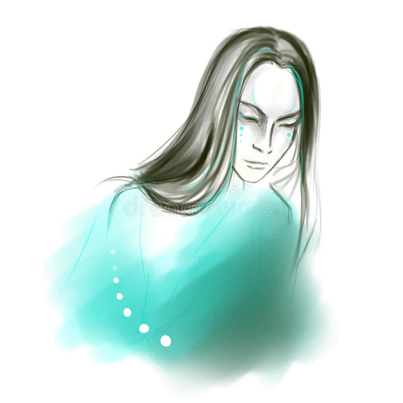 Hombre asiático de pelo largo tranquilo joven libre illustration