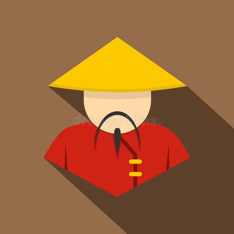Hombre asiático en cónico, icono del sombrero de paja, estilo plano ilustración del vector