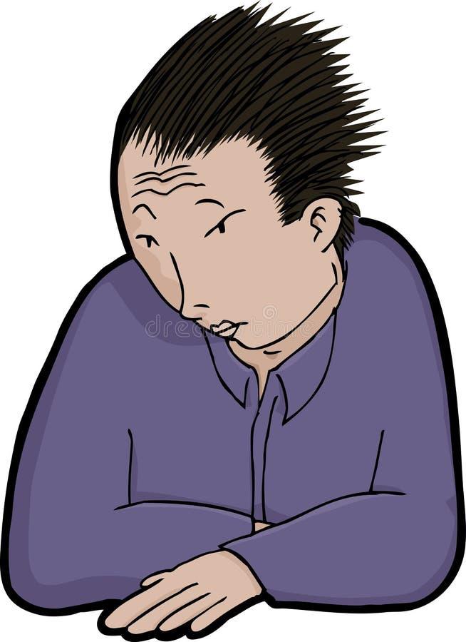 Hombre asiático en soledad ilustración del vector