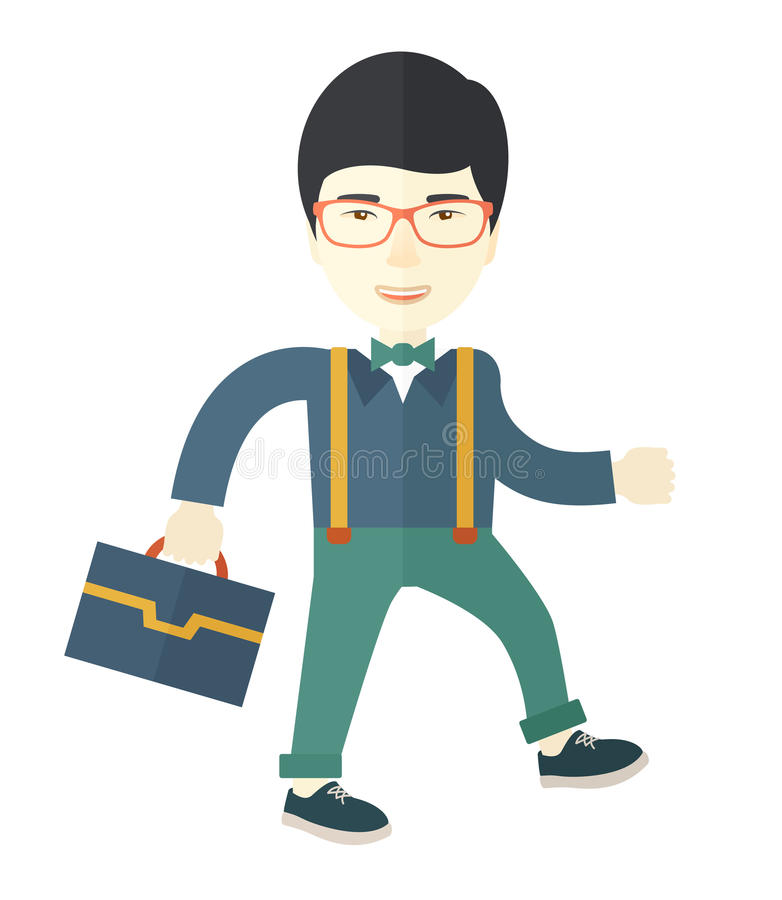 Hombre asiático joven que camina con su cartera stock de ilustración