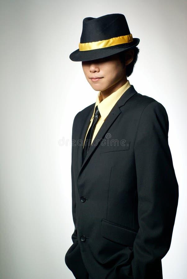 Hombre asiático misterioso de la mafia fotografía de archivo libre de regalías