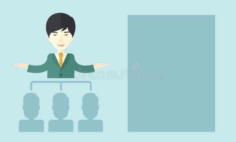 Hombre asiático pronunciar un discurso del negocio ilustración del vector