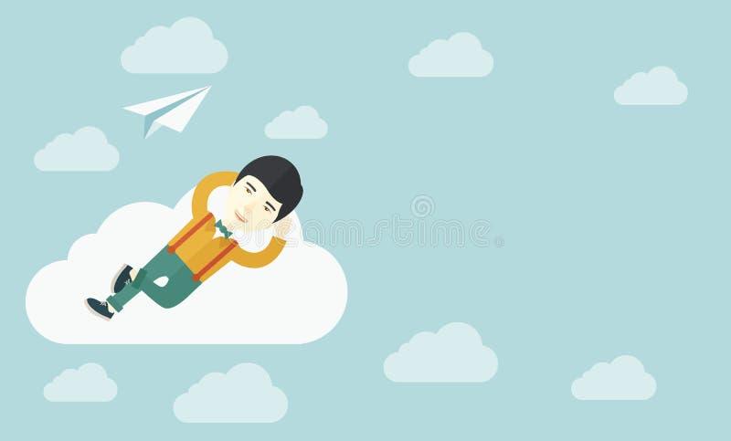 Hombre asiático que miente en una nube con el avión de papel ilustración del vector