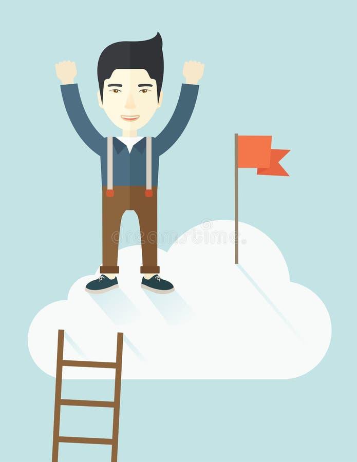 Hombre asiático que se coloca en el top de la nube con rojo stock de ilustración