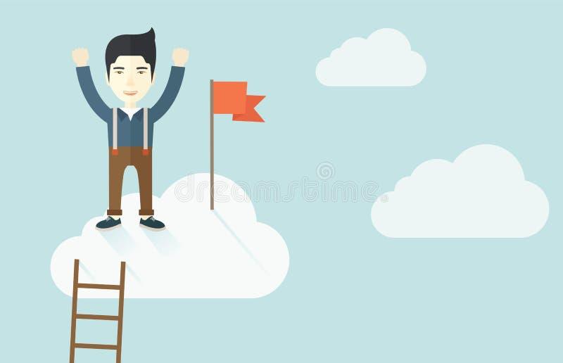 Hombre asiático que se coloca en el top de la nube con rojo libre illustration