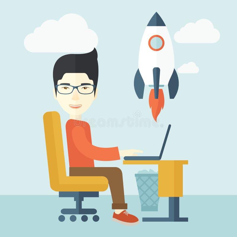 Hombre asiático y su ordenador portátil libre illustration