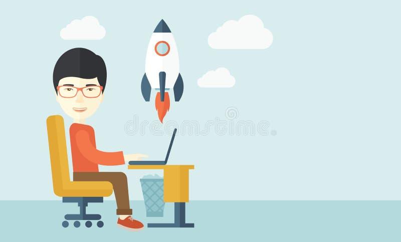 Hombre asiático y su ordenador portátil ilustración del vector