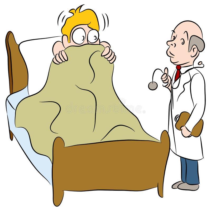 Hombre asustado de doctor ilustración del vector