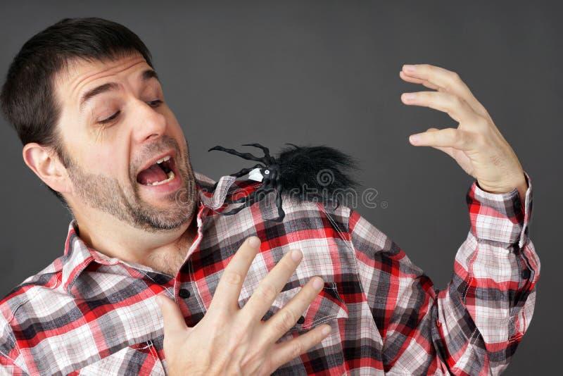 Hombre asustado por la araña falsa fotos de archivo libres de regalías