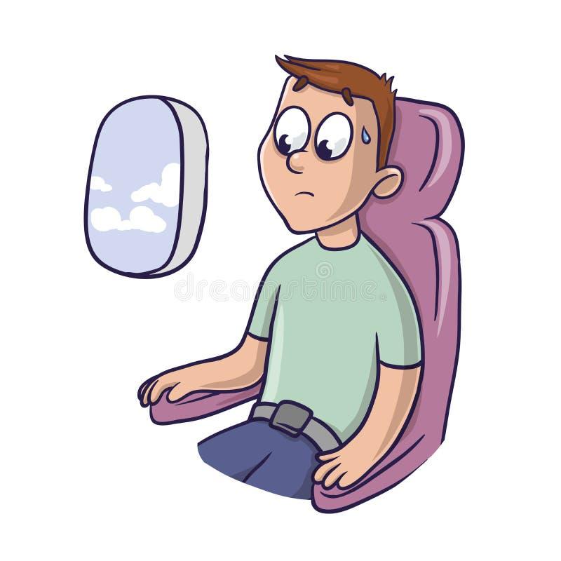 Hombre asustado preocupante en el asiento del aeroplano en la ventana libre illustration