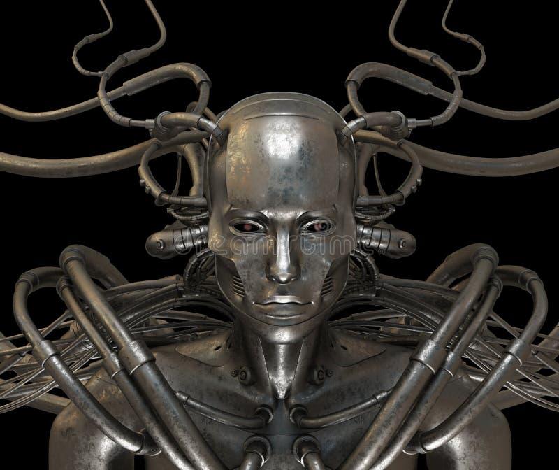 Hombre atado con alambre acero del Cyborg stock de ilustración