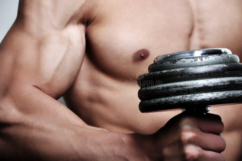 Hombre atlético con el peso fotografía de archivo libre de regalías