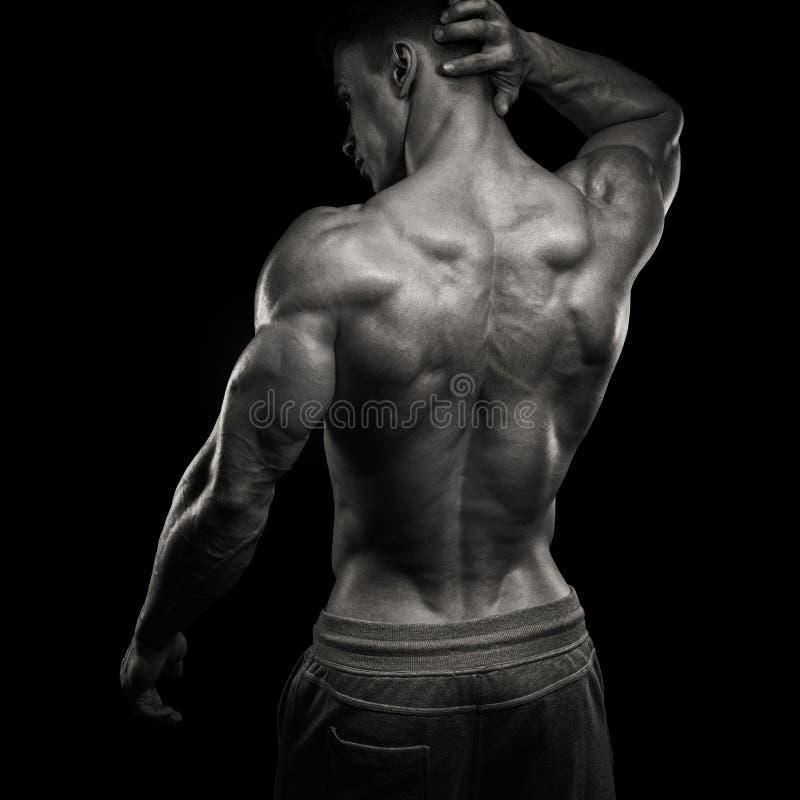 Hombre atlético del poder hermoso devuelto imagen de archivo libre de regalías