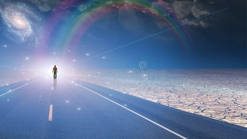 Hombre bañado en luz y camino ilustración del vector