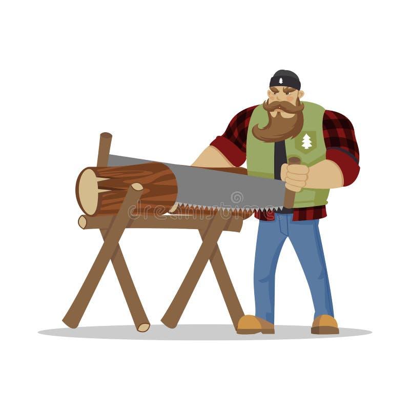 Hombre barbudo brutal del leñador en camisa a cuadros roja con el hacha en manos woodcutter El caminar de la pasión por los viaje libre illustration
