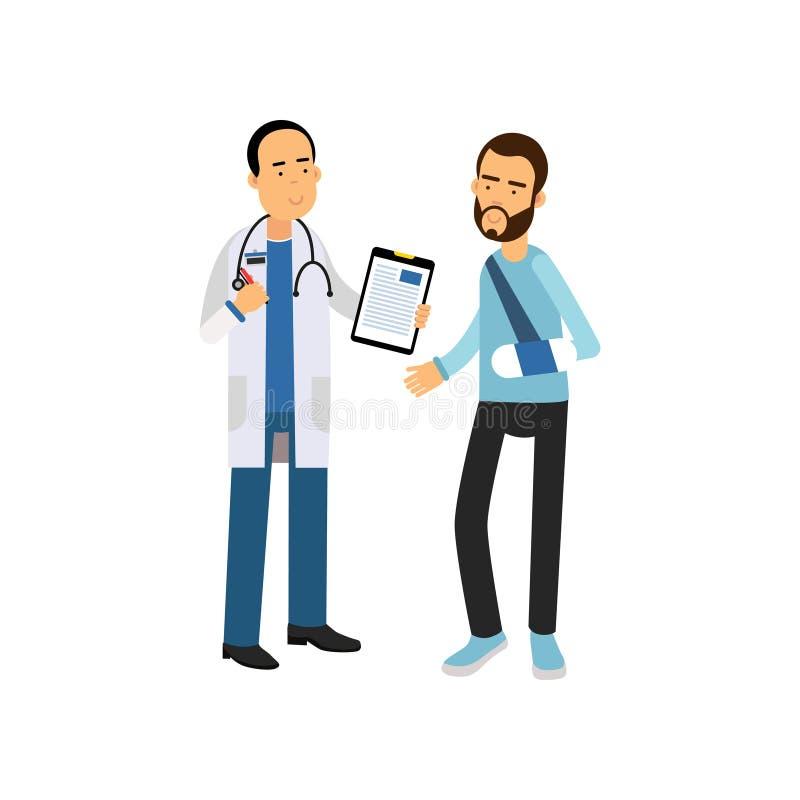 Hombre barbudo con el gabinete del doctor del traumatologist del brazo que visita quebrado en hospital Ejemplo plano de la histor ilustración del vector