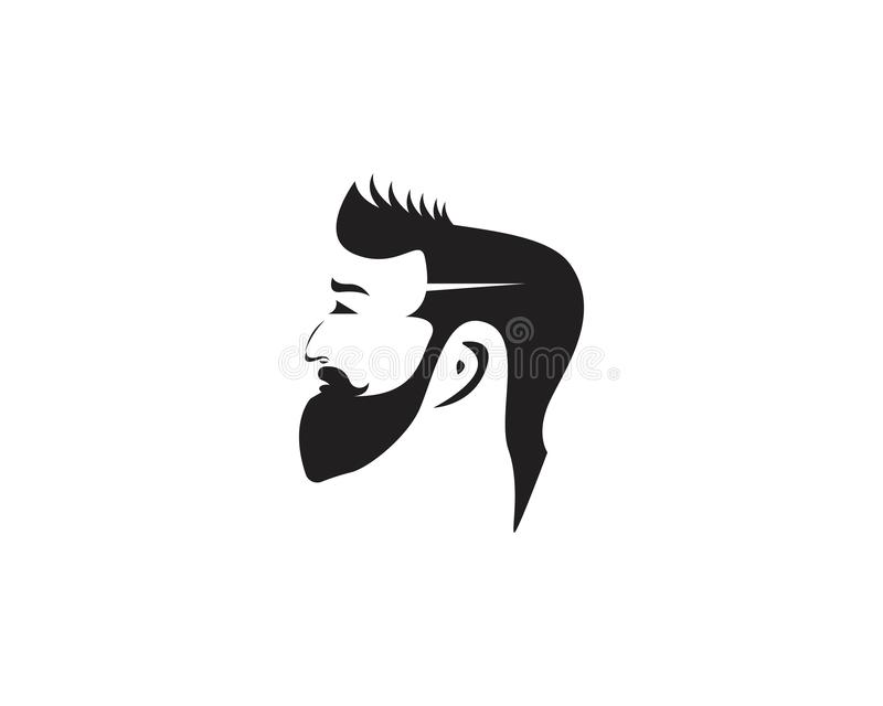 Hombre barbudo con la silueta del logotipo de la moda del corte del pelo ilustración del vector
