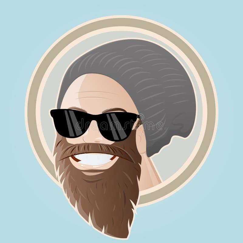 Hombre barbudo de la historieta con el casquillo libre illustration