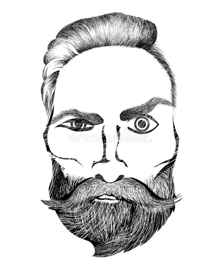Hombre barbudo del inconformista con mirada loca Elemento gráfico para el diseño etc de los babershops ilustración del vector
