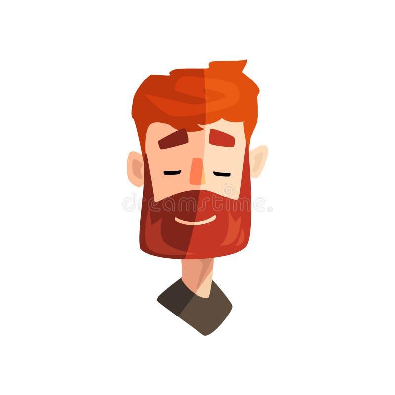 Hombre barbudo del pelirrojo amistoso, cara emocional masculina, avatar con el ejemplo del vector de la expresión facial en un bl ilustración del vector